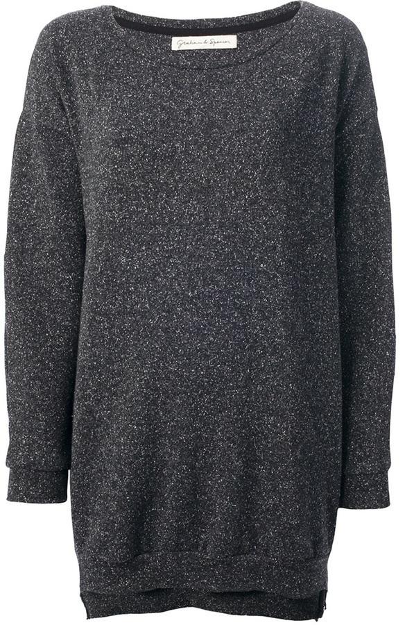 Jersey con cuello circular en gris oscuro de Graham & Spencer