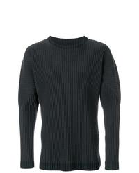 Jersey con cuello circular en gris oscuro de Homme Plissé Issey Miyake
