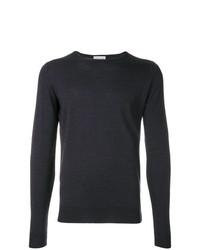 Jersey con cuello circular en gris oscuro de John Smedley