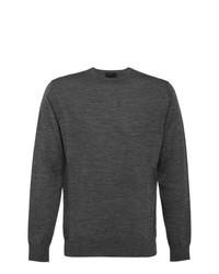 Jersey con cuello circular en gris oscuro de Prada