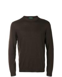 Jersey con cuello circular en marrón oscuro de Zanone