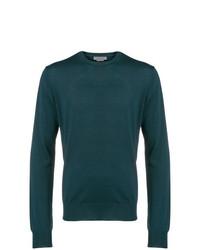Jersey con cuello circular en verde azulado de Corneliani
