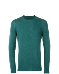 Jersey con cuello circular en verde azulado de Roberto Collina