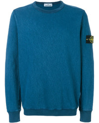 Jersey con cuello circular en verde azulado de Stone Island