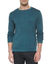 Jersey con cuello circular en verde azulado de Theory