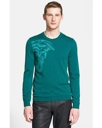 Jersey con cuello circular en verde azulado de Versace