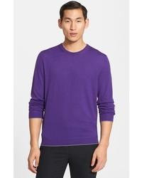 Jersey con cuello circular en violeta de Z Zegna