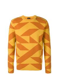 Jersey con cuello circular estampado amarillo de Roberto Collina