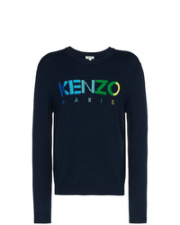 Jersey con cuello circular estampado azul marino de Kenzo