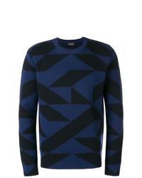 Jersey con cuello circular estampado azul marino de Roberto Collina