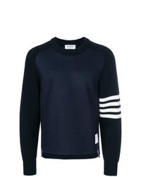 Jersey con cuello circular estampado azul marino de Thom Browne