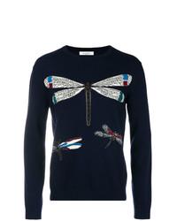 Jersey con cuello circular estampado azul marino de Valentino