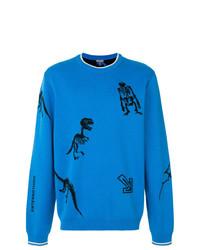 Jersey con cuello circular estampado azul de Lanvin