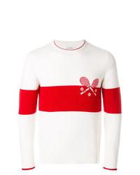 Jersey con cuello circular estampado en blanco y rojo de Thom Browne