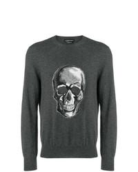 Jersey con cuello circular estampado en gris oscuro de Alexander McQueen
