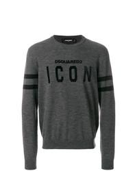 Jersey con cuello circular estampado en gris oscuro de DSQUARED2