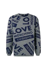 Jersey con cuello circular estampado en gris oscuro de Love Moschino