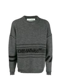 Jersey con cuello circular estampado en gris oscuro de Off-White