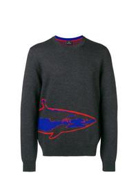 Jersey con cuello circular estampado en gris oscuro de Ps By Paul Smith