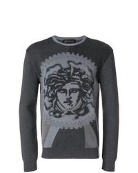 Jersey con cuello circular estampado en gris oscuro de Versace