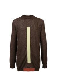 Jersey con cuello circular estampado en marrón oscuro de Rick Owens