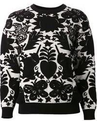 Jersey con cuello circular estampado en negro y blanco