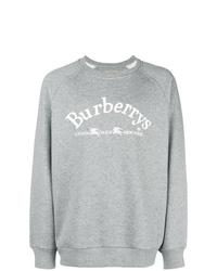 Jersey con cuello circular estampado gris de Burberry