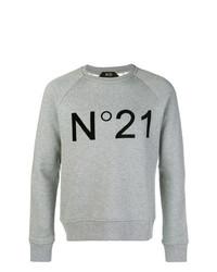 Jersey con cuello circular estampado gris de N°21