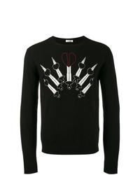 Jersey con cuello circular estampado negro de Valentino