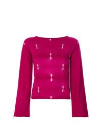 Jersey con cuello circular estampado rosa