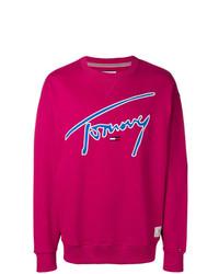 Jersey con cuello circular estampado rosa de Tommy Jeans