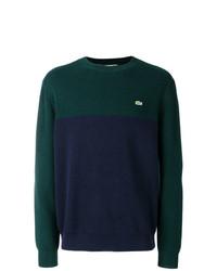 Jersey con cuello circular estampado verde oscuro de Lacoste