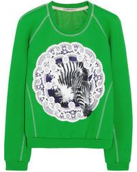 Jersey con cuello circular estampado verde de Emma Cook