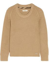 Jersey con cuello circular marrón claro de Burberry