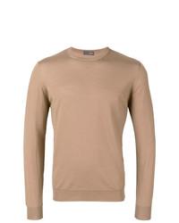 Jersey con cuello circular marrón claro de Drumohr