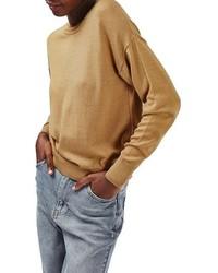 Jersey con cuello circular marrón claro de Topshop