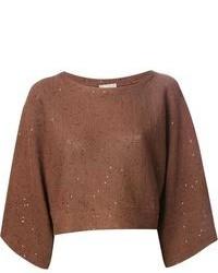 Jersey con cuello circular marrón de Brunello Cucinelli