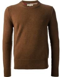 Jersey con cuello circular marrón de Burberry