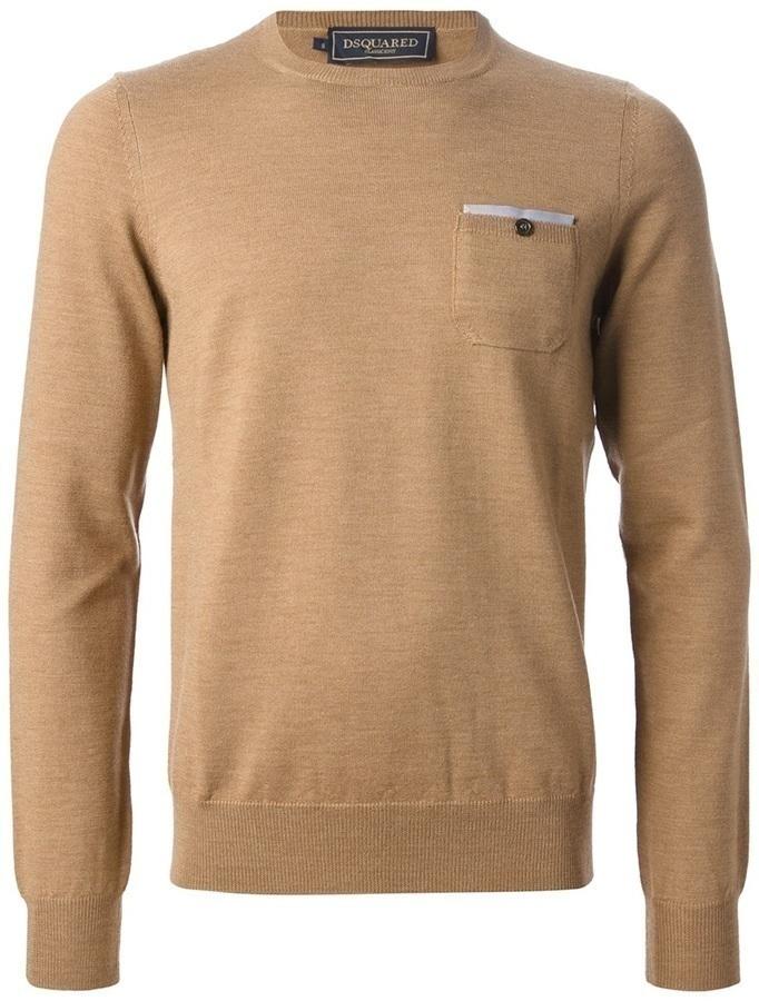 Jersey con cuello circular marrón de DSquared
