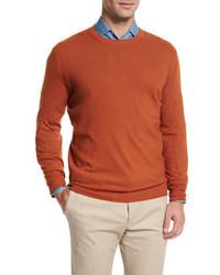 Jersey con cuello circular naranja de Loro Piana