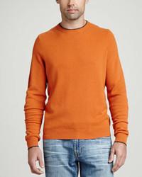 Jersey con cuello circular naranja de Neiman Marcus