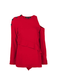 Jersey con cuello circular rojo de Proenza Schouler