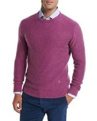 Jersey con cuello circular rosa de Isaia