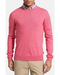 Jersey con cuello circular rosado de BOSS HUGO BOSS