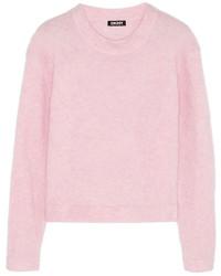 Jersey con cuello circular rosado de DKNY