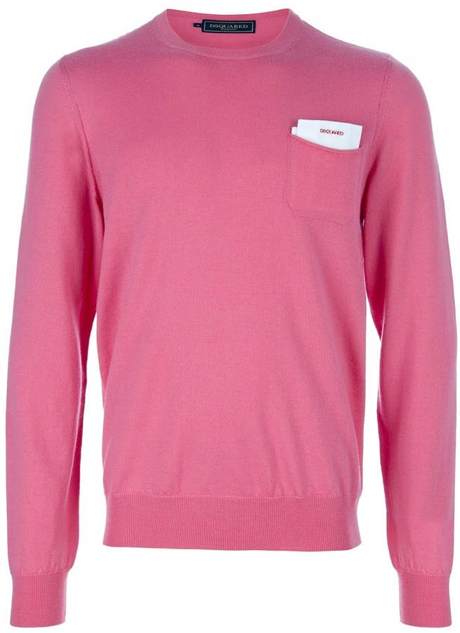 Jersey con cuello circular rosado de DSquared