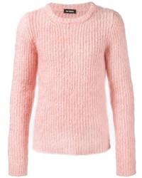 Jersey con cuello circular rosado de Raf Simons