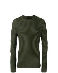 Jersey con cuello circular verde oliva de Neil Barrett