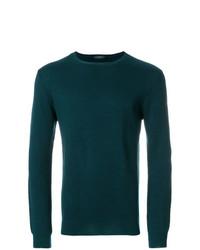 Jersey con cuello circular verde oscuro de Zanone