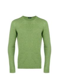 Jersey con cuello circular verde de Zanone